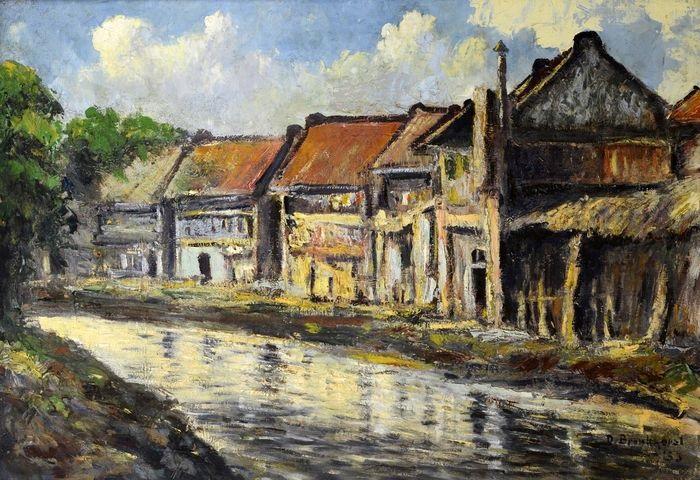 Pemukiman di Pinggir sungan Ciliwung tahun 1930-1940. Foto: baladapustaka.com