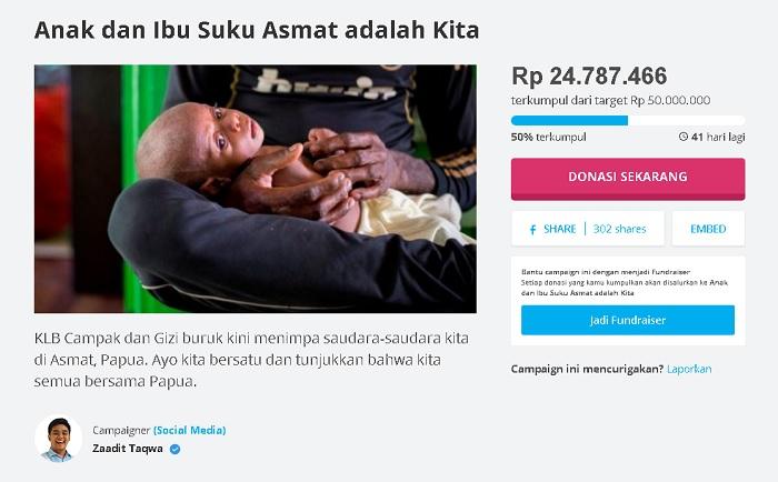 Zaadit Taqwa Galang Dana untuk Asmat. Foto Crop: NusantaraNews
