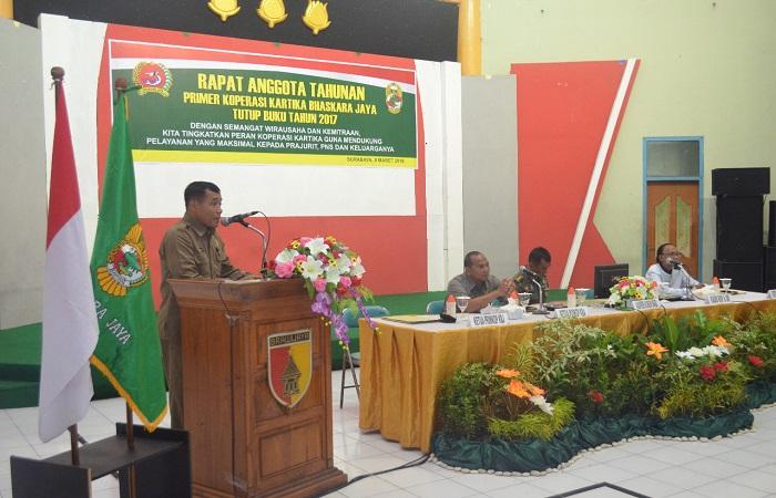 Kapten Inf Karmani dalam rapat anggota tahunan Primkop Bhaskara Jaya, Kamis, 8 Maret 2018.