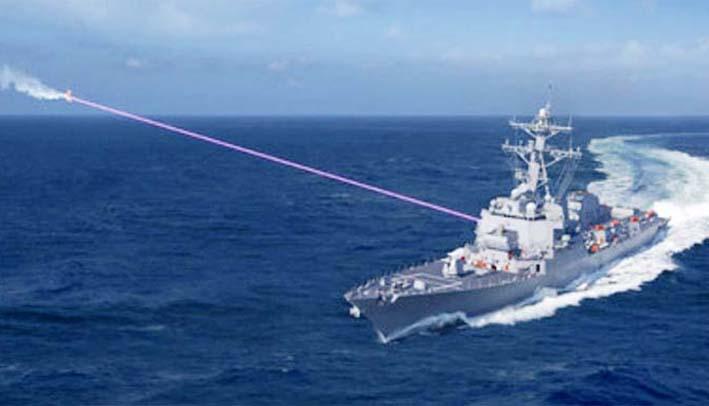 Ilustrasi Kapal Perang AS Menembakan Laser