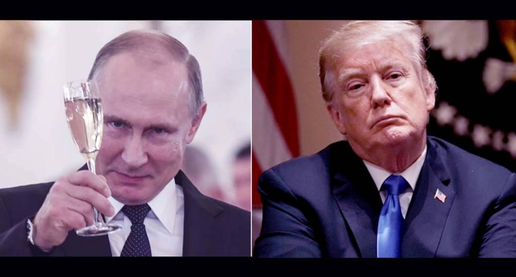 Presiden Rusia Vladimir Putin dan Presiden AS Donald Trump