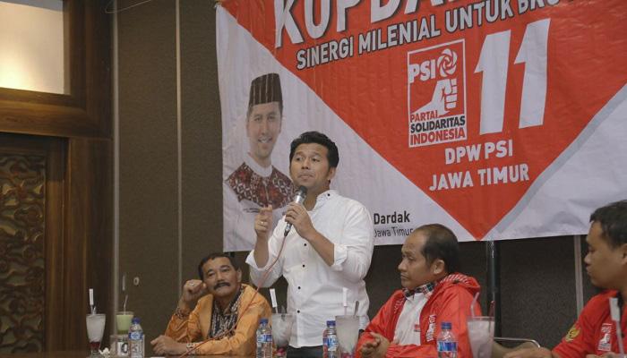 Partai Solidaritas Indonesia (PSI) resmi mendukung pasangan Khofifah-Emil di Pilgub Jawa Timur 2018. (Foto: Setya/NusantaraNews)