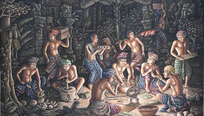 Gotong Royong - Lukisan I Ketut Triguna. (FOTO: NUSANTARANEWS.CO)