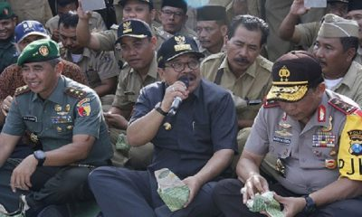 Gubernur Jawa Timur, Pangdam V Brawijaya dan Kapolda Jatim menggelar apel sinergitas di Mapolda Jatim