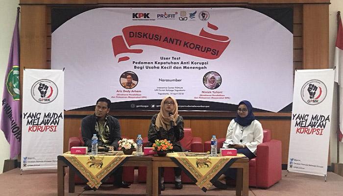Komisi Pemberantasan Korupsi (KPK) yang diwakili Direktorat Pendidikan dan Pelayanan Masyarakat KPK Niniek Yuliani menghadiri kegiatan diskusi anti korupsi di UIN Sunan Kalijaga Yogyakarta, Kamis (19/4/2018). (Foto: Tri Muryani/NusantaraNews)