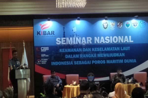 Seminar nasional bertajuk Keamanan dan Keselamatan Laut dalam Mewujudkan Poros Maritim Dunia di Hotel Borobudur, Kamis, 5 April 2018. (FOTO: NUSANTARANEWS.CO)