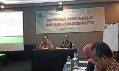 Kegiatan Penyusunan Petunjuk Teknis Bantuan Kemahasiswaan Drektorat Pendidikan Tinggi Islam pada Jumat (20/4) di Bekasi. (Foto: Istimewa)