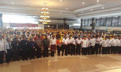Menteri Hukum dan HAM Yasonna Laoly saat pembekalan latihan dasar CPNS Kanwil Kemenkum HAM Sumatera Selatan, Rabu (18/4/2018). (Foto: Eddy Santry/NusantaraNews)