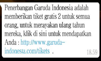 Informasi Promo Tiket Gratis Penerbangan Garuda Indonesia Tidak Benar