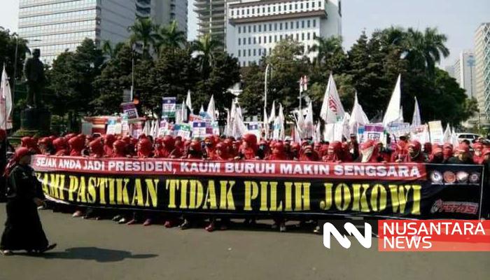 May Day Tahun 2018 Dipenuhi Gemuruh Nasib THK 2. (FOTO: NUSANTARANEWS.CO)