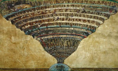 Peta Jalan Menuju Surga dan Neraka. Lukisan Sandro Botticelli berdar Tulisan Dante Alighieri. (Ilustrasi: NUSANTARANEWS.CO/wga.hu)