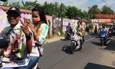 Ratusan siswa saat konvoi di Kabupaten Sumenep Madura. (FOTO: NUSANTARANEWS.CO/Mahdi)