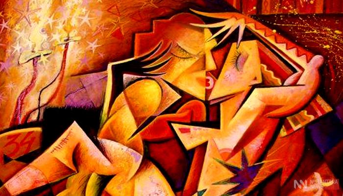"Sebatang Cinta Perindu Sukma. (FOTO: NUSANTARANEWS;.CO/Lukisan by Kaola Oty ""The loverss "")"