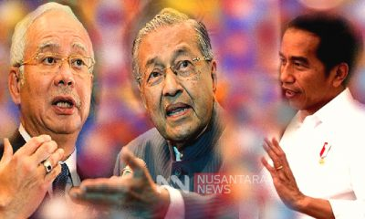 Dari Kiri ke Kanan - Najib Razak - Mahathir Mohamad - Joko Widodo. (FOTO: NUSANTARANEWS.CO)
