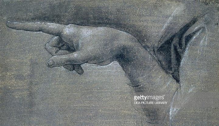 Study for right hand of angel by Leonardo da Vinci (1452-1519) (Foto Gatty Images)