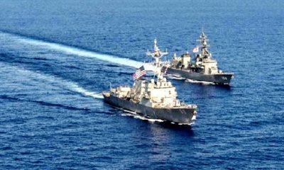 Dua Kapal Perang Amerika Serikat berlayar melalui perairan Selat Taiwan. (FOTO: SindoNews)