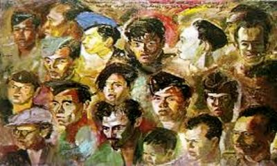 "Lukisan karya S.Sudjojono, "" Kawan-kawan revolusi"", media cat minyak diatas canvas, ukuran 95cm X 149cm. (FOTO: Istimewa)"