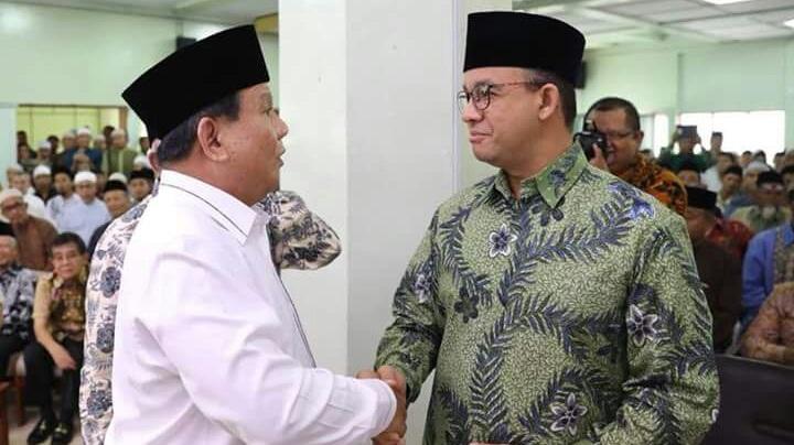 Ketua Umum Gerindra Prabowo Subianto dan Gubernur DKI Jakarta Anies Baswedan. (NUSANTARANEWS.CO)