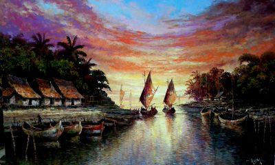 Mimpi Orang-Orang Pesisir (Lukisan Kampung Nelayan/Foto: kuatcasmoro)