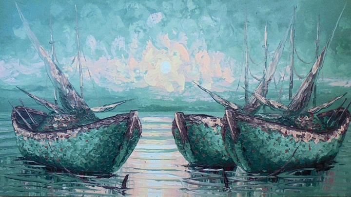 PM-05 Lukisan Perahu Nelayan. (FOTO: sancita.com)
