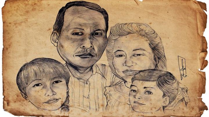 Seorang ayah dan ibu bersama dua orang anak by ftourini. (FOTO: karikatuurmoe)