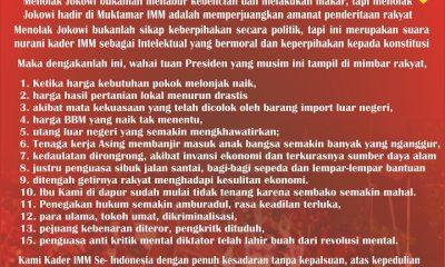 Kade IMM se Indonesia tolak kehadiran Presiden Joko Widodo dalam Muktamar ke XVIII. (FOTO: NUSANTARANEWS.CO)