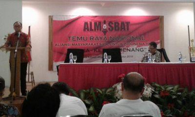 Anggota Watimpres Sidarto Danusubroto saat membuka Temu Raya Nasional Almisbat ke 2 di Wisma Kinasih,Depok,Jawa Barat, Selasa (28/8/2018). (FOTO: NUSANTARANEWS.CO/Eddy Santri)