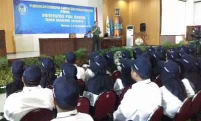 Kasiter Rem 081/DSJ Mayor Inf Khamim Thohari mengajak para mahasiswa baru untuk mampu menangkal masuknya paham radikal di kampus UNIPMA. (FOTO: NUSANTARANEWS.CO/Penrem81)