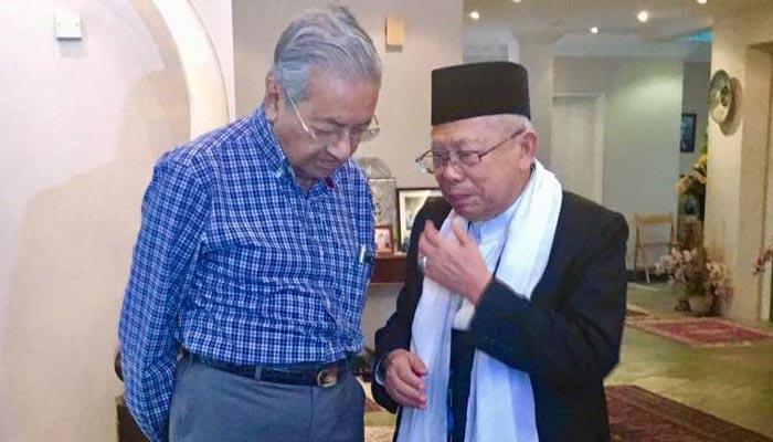 Ma'ruf Amin saat Berkunjung ke Kediaman Mahathir Mohamad (Foto Credit)