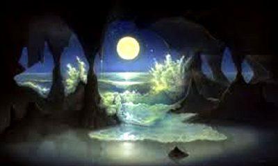 "Rembulan membelah lautan. (FOTO: ""SEA MOON CAVE"", A painting by Jim Thompson: The Art, Mind, & Soul of Jim Thompson)"