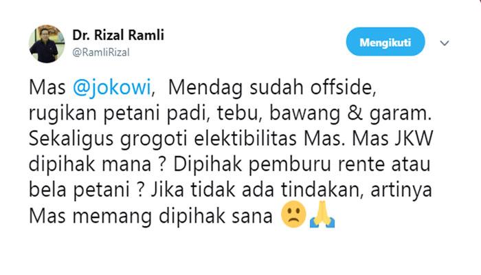 Twiit Rizal Ramli, Rabu (19/9/2018)