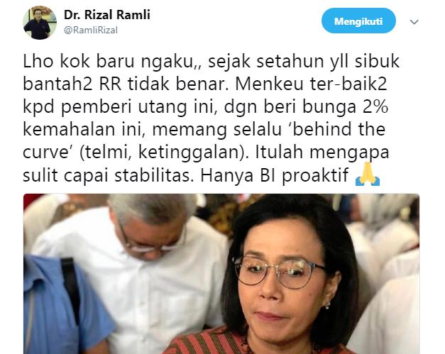 Twitt Rizal Ramli Soal Pernyataan Sri Mulyani