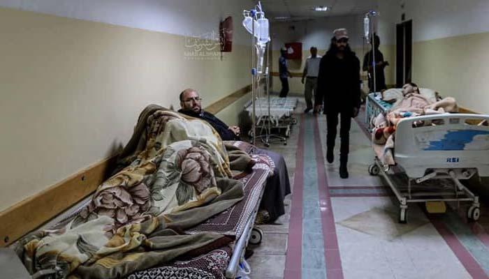 Akibat pengeboman di dekat RS Indonesia, Gaza, para pasien dipindahkan di lorong-lorong (Foto MER-C)