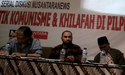 Aktivis 98 Haris Rusli Motti (Tengah) pada acara Diskusi Publik bertajuk Membedah Agenda Politik Komunisme dan Khilafah di Pilpres 2019. (FOTO: NUSANTARANEWS.CO)