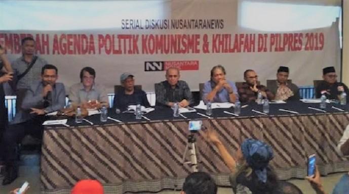 Boni Hargens (paling kiri) pada acara diskusi publik bertajuk Membedah Agenda Politik Komunisme dan Khilafah di Pilpres 2019. (FOTO: Istimewa)