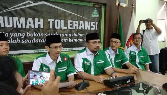 Ketum GP Ansor Gelar Konperensi Pers Soal Pembakaran Bendera Berkalimat Tauhid (Foto Istimewa)
