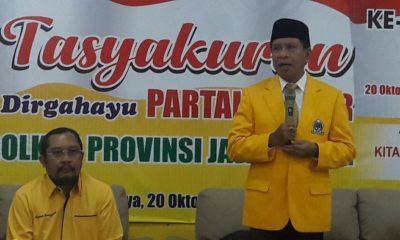 Plt Ketua DPD Golkar Jatim I Zainudin Amali menegaskan bahwa meski Partai Golkar di Pilpres 2019 mendatang mengusung paslon Jokowi-Ma'ruf Amin. (FOTO: NUSANTARANEWS.CO/Setya)