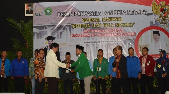dalam rangka Sumpah Pemuda dan Pekan Pancasila dan Bela Negara, para mahasiswa Indonesia berkumpul di UIN Sunan Kalijaga, pada Kamis (01/11/2018) untuk menyatakan tekad bersama. (FOTO: NUSANTARANEWS.CO)