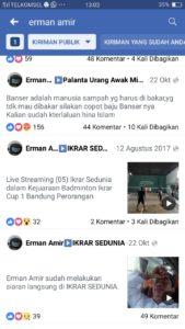 Ujaran kebencian akun Facebook Erman Amir
