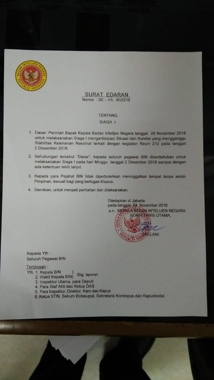 Surat Edaran Badan Intelijen Negara (BIN) ini hoax.