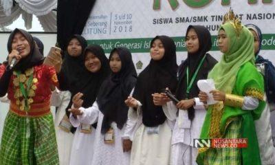 Aksi Siswa pada kegiatan Kemah Rohis Nasional 2018 di Balitung (Foto Dok. Nusantaranews/Nasukha)