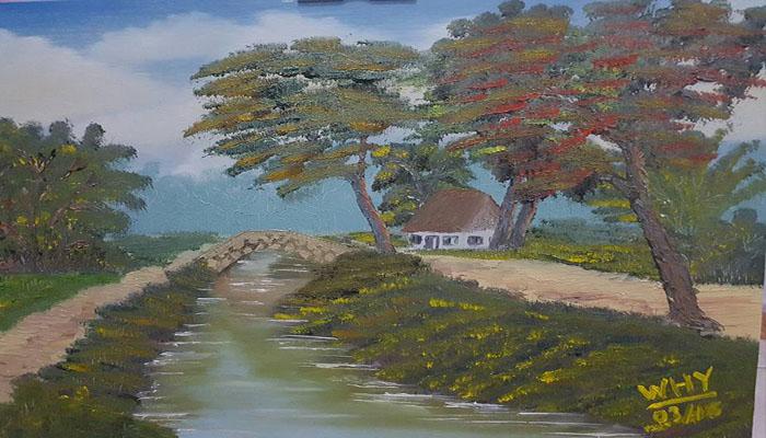 Rumah di Tepi Sungai. (Lukisan: Dok. Telco DataCentre )