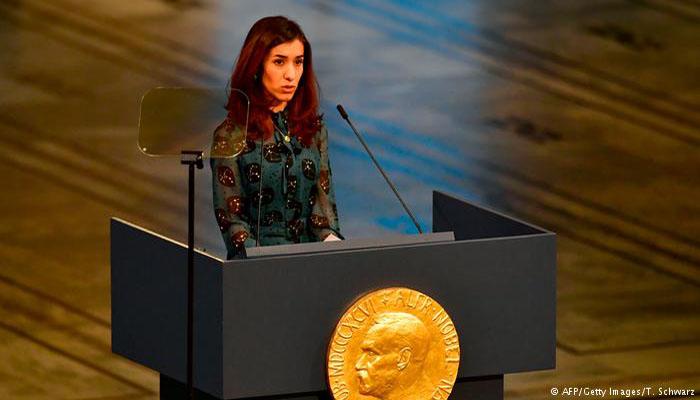 Pemenand Nobel Perdamaian Nadia Murad. (FOTO: AFP/Getty)