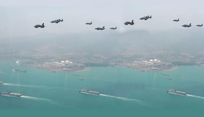 Pertahanan Alutsista Indonesia di Perairan Natuna - Laut Cina Selatan. (FOTO ILUSTRASI: NUSANTARANEWS.CO)