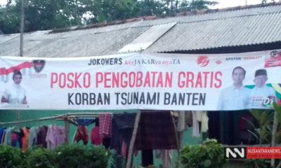 Sejulam relawan pendukung Jokowi membuka posko pengobatan gratis untuk para korban tsunami Selat Sunda (Foto Dok. NUSANTARANEWS.CO)