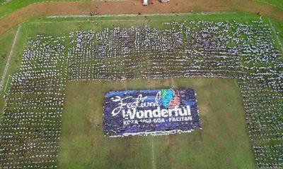 acara Pemecahan Rekor Muri 5000 penari Rontek yang digelar siswa-siswi se-Kabupaten Pacitan di Stadion Pacitan Gelora Arga Lima. (FOTO: NUSANTARANEWS.CO/David)