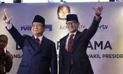 Capres-Cawapres 02 Prabowo-Sandi menjelang Depat Perdana. (FOTO: Istimewa)