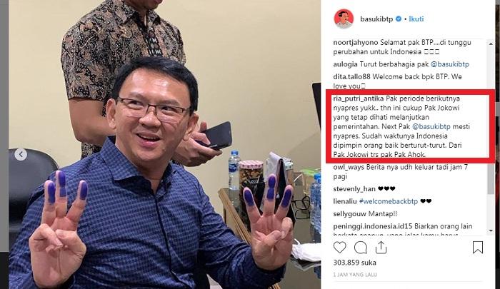 Komentar Netizen atas kebebasan Ahok dari Mako Brimob. (FOTO: Screenshot IG @basukibpt)