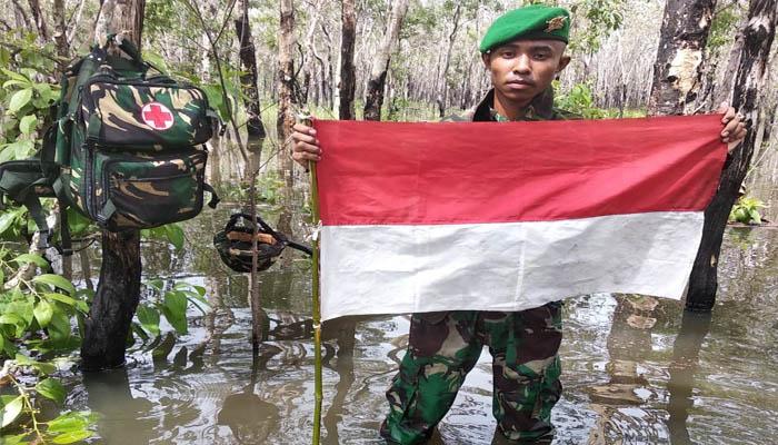 Patroli Patok di Perbatasan RI PNG Oleh Yonif Mekanis 521 DY