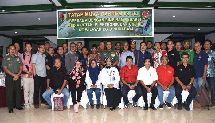 Perwakilan Media Se-Surabaya Berkumpul di Makorem 084 Bhaskara Jaya, nusantaranewsco